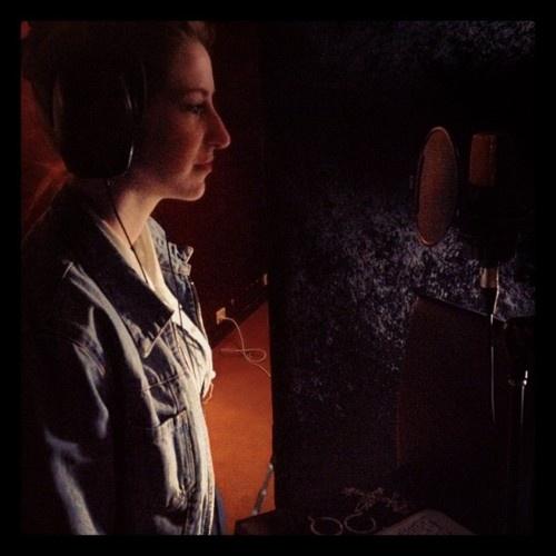 Recording Pom Pom in the studio