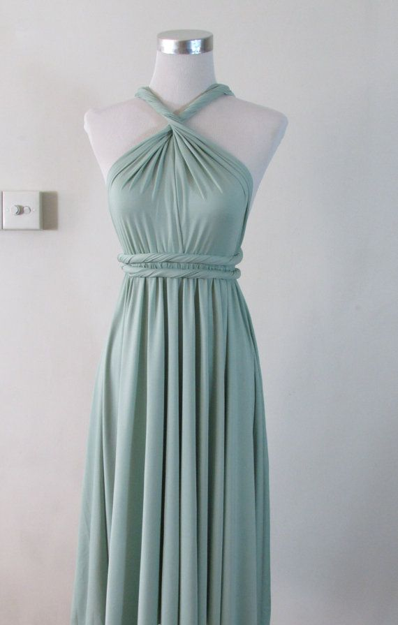 FREE BANDEAU Full Length Convertible Dress in Sage Pale Green Pastel Infinity Dress Multiway Dressl Powder Mint...so pretty! different styles!