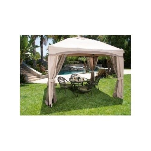 Portable Patio Gazebo Single Roof Netting Water Resistant UV Protection 10'x10'