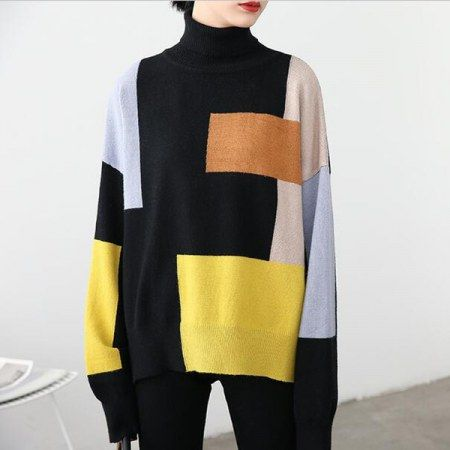 Cowl neck color block sweater for women side slit sweaters