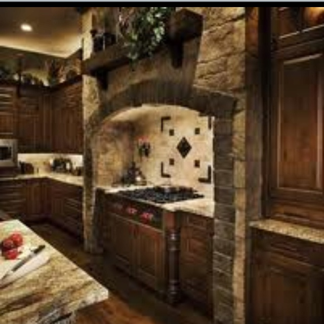 Castle And Stone Range Hood Old World Kitchen Design