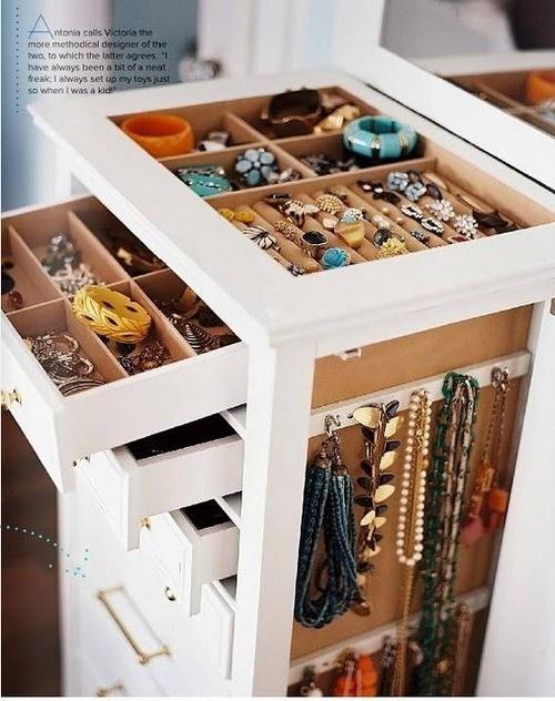 Jewelry storage- add to island in closet :)