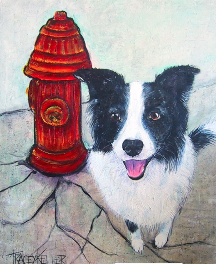 Vintage Tracey Keller Painting - Border Collie