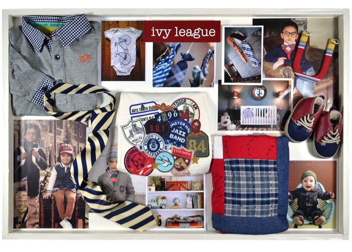 Inside the Just Born designer's inspiration drawer: Ivy League. This trend is a refined approach to style with classic color choices and nostalgic patterns. #classicbaby #trends #design #baby #justborn justbornforbaby.com