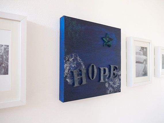 Blue collage painting on canvas 'HOPE' by Emma by freshdarling
