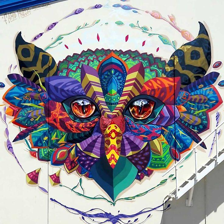 "Street art by Farid Rueda  ""Night Watcher"" No Collectivo - Aruba Art Fair 2016"