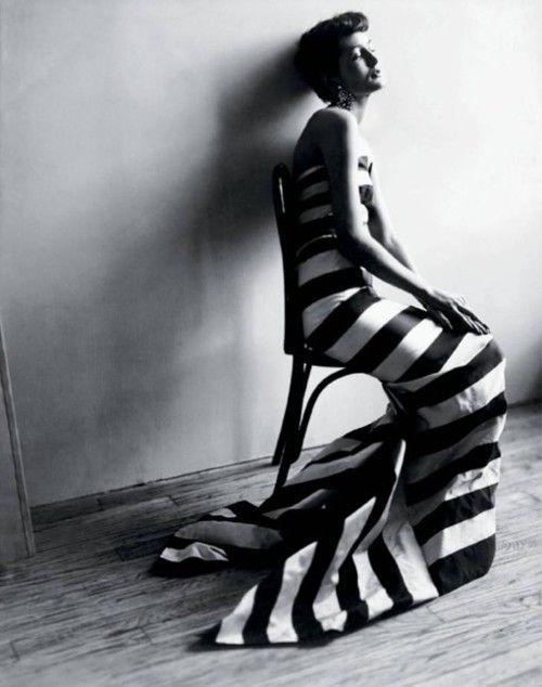 Black and white striped fishtail taffeta by Paquin, worn by Maxime de la Falaise.  Cecil Beaton, 1950.