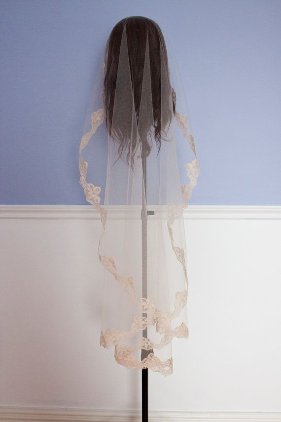 Beige lace trim veil Mantilla or Round style by InaEvelynBoutique