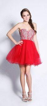 A-line Sweetheart Tulle Short/Mini Red Rhinestone Prom Dress
