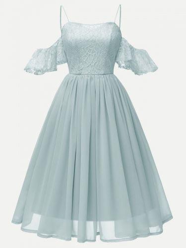 Vinfemass Lace Chiffon Patchwork Strap Party Dress