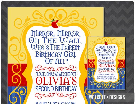 Snow White Birthday Invitation Snow White Party by WolcottDesigns