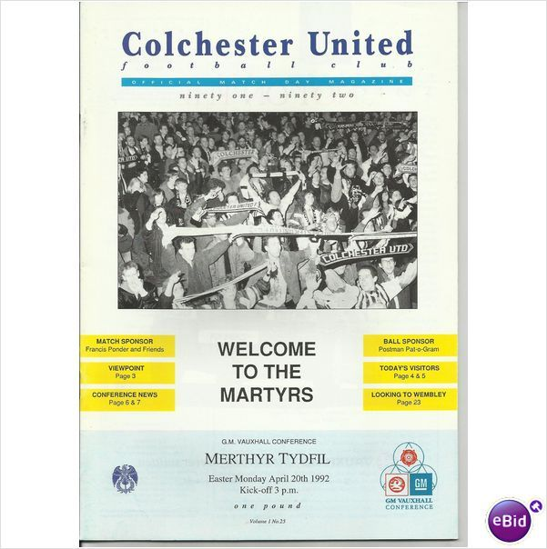 Colchester United v Merthyr Tydfil - 20 Apr 92 Listing in the 1990s,Non-League Fixtures,English Leagues,Football (Soccer),Sports Programmes,Sport Memorabilia & Cards Category on eBid From Jiminrusk