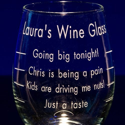 Personalized Stemless Graduated Wine Glasses - Custom Engraved in Bulk