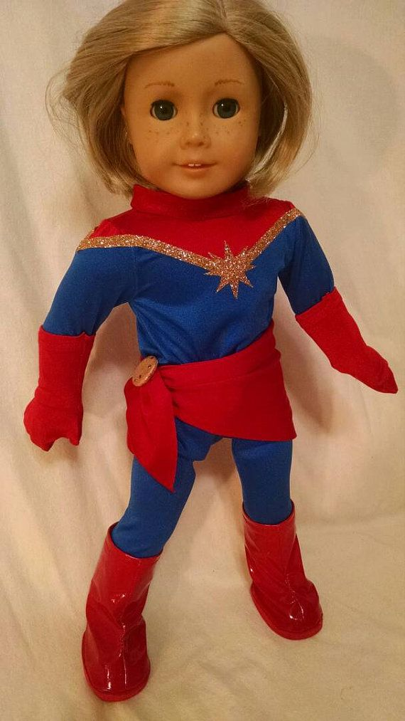 Check out this item in my Etsy shop https://www.etsy.com/listing/264429144/captain-marvel-costume-for-american-girl