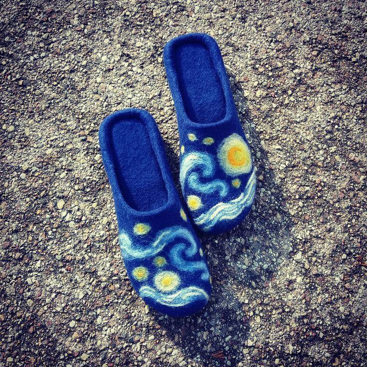 """wet felted wool slippers (@pamana.lv) on Instagram: """"Debesis apaut un sapņot lielus sapņus! Iedvesmojoties no The Starry Night piepildīju kāda īpaša…"""""""