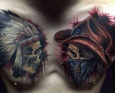 Indians and Cowboy Skull Tattoo - Title