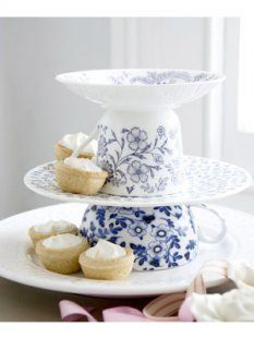 Make a Cake Stand With Teacups  Planning to serve cupcakes at your next party? Make each guest feel special by serving those treats on mini cake stands—simply turn a teacup upside down and place a saucer on top.