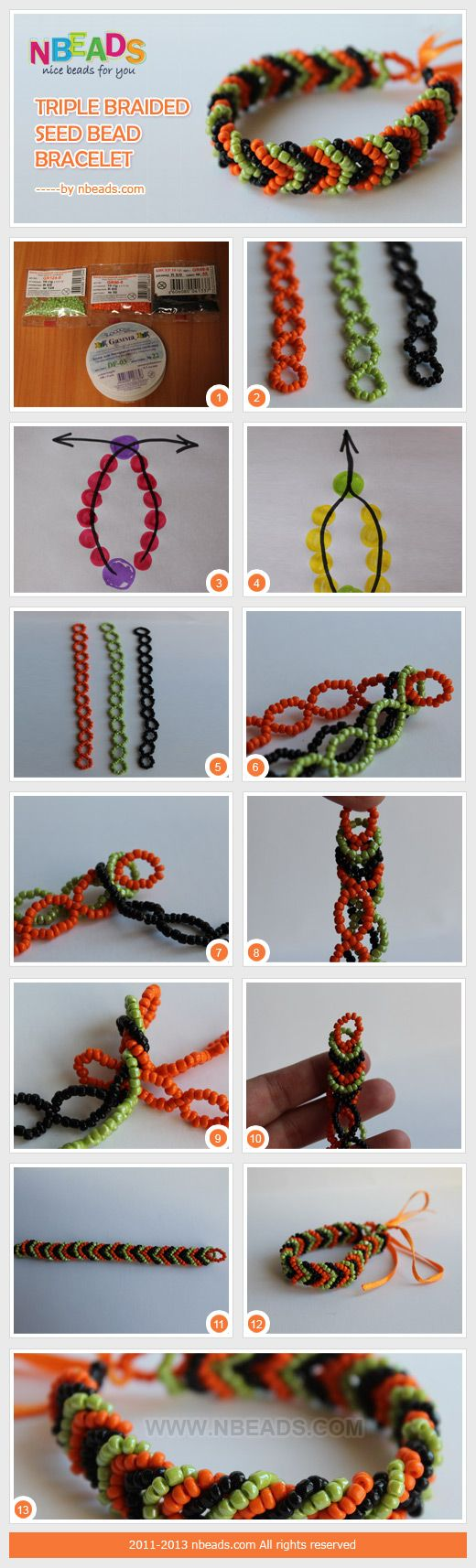 Triple braided seed bead bracelet