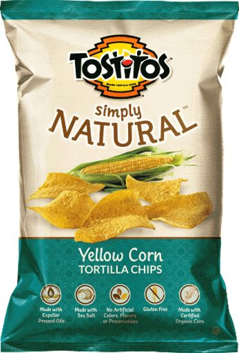 TOSTITOS® SIMPLY NATURAL™ Yellow Corn Restaurant Style Tortilla Chips free of gluten, milk, soy & MSG.