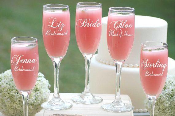 Personnalisé de 6 coupes à Champagne, personnalisé gravé lunettes de grillage, demoiselles d