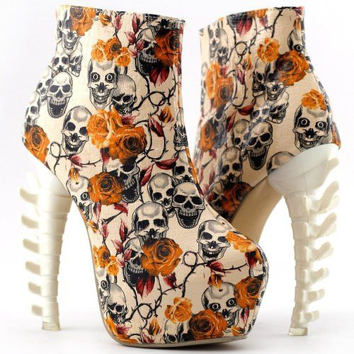 Halloween Heels, skulls with backbone