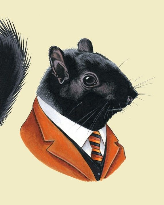 Also, how do you feel about a print of a woodland animal actually wearing the menswear? Could be an interesting twist.