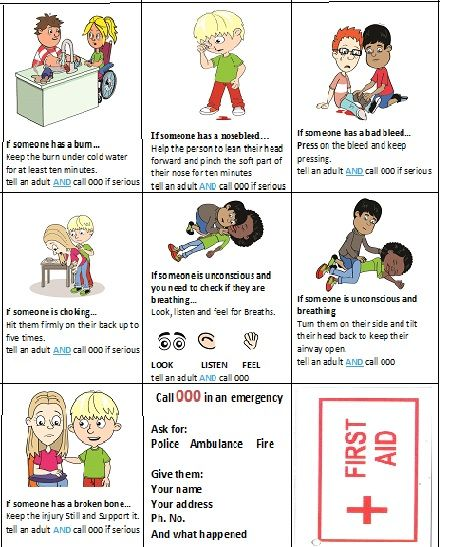 first aid cards for kids