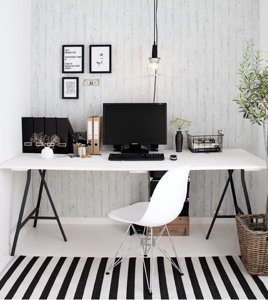 Home office black and white design