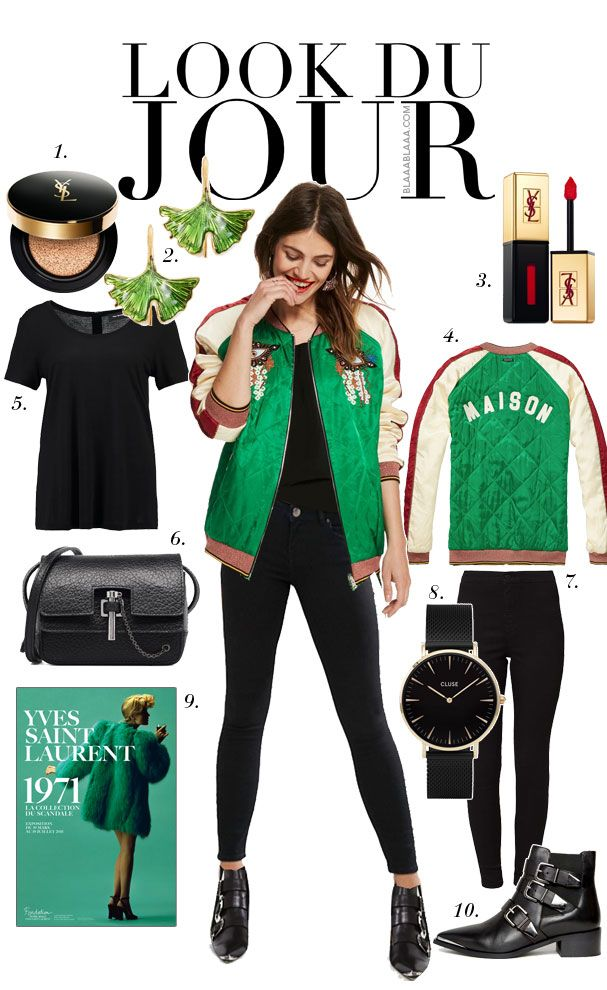 Look Du Jour: Guten Moregreen! Black top+black skinny jeans+black moto ankle boots+white, bluesh and green printed bomber jacket+black crossbody bag+green earrings. Spring Casual Outfit 2017