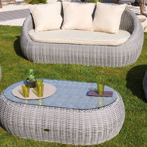 salon de jardin canap 2 faut table basse en r sine - Salon De Jardin Mtal Color
