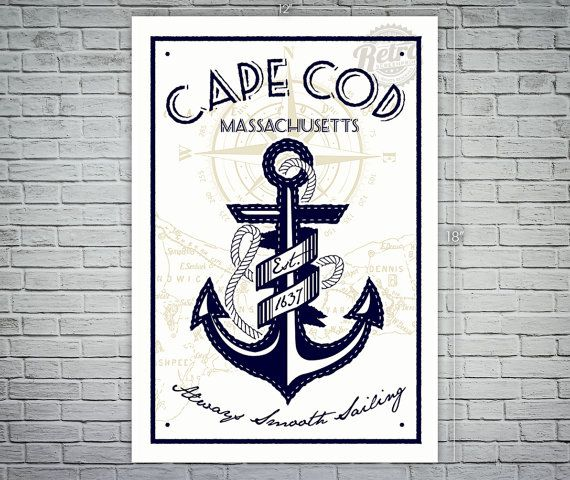 Bacalao de cabo anclaje pantalla impresa cartel massachusetts náutico retro vintage pantalla de seda