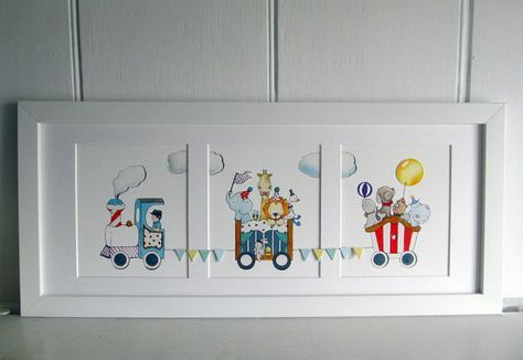 Circus Train  Framed Fine Art Print    Fine Art Giclée quality Childrens print, printed with archival inks on luxurious acid-free textured paper.
