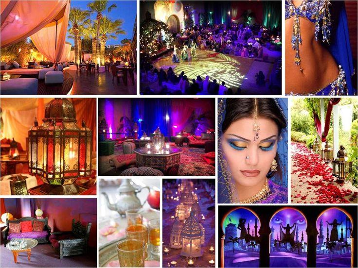 Una boda árabe  Si te gusta el tema de lo árabe, puedes ponerle acentos de este tema a tu boda, cubriendo todo con velos, poniendo velas por doquier y utilizar un maquillaje apropiado para hacer una atmósfera romántica y sensual