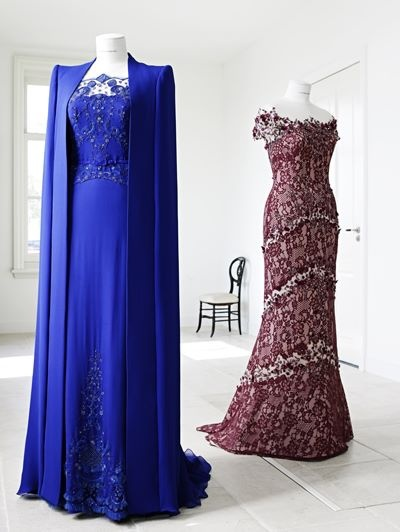 Dresses for queen Máxima -  by Dutch fashion designer Jan Taminiau both with stunning 'broderie d'art' ...!