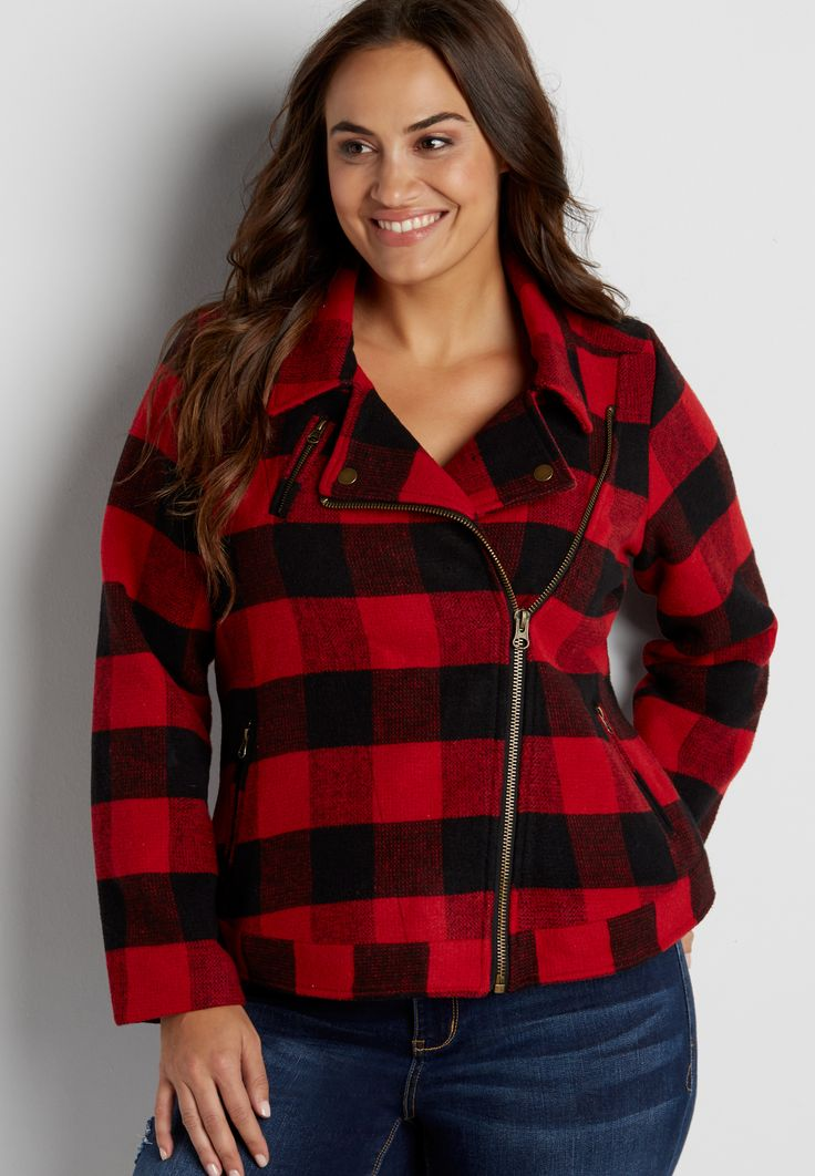 plus size buffalo plaid moto jacket (original price, $99.00) available at #Maurices