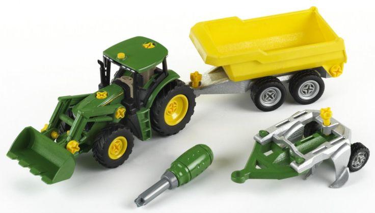 Tento set ocení nejen malý fanoušci Traktorů. Parádní traktor v licenci John Deere s přední lžící, sklápěcím valníkem ve žluté barvě, pluhem a zeleným šroubovákem. Kromě skvělého designu mohou děti auto rozebrat a zase složit, nebo připojit přívěs nebo pluh podle potřeby pomocí přiloženého šroubováku.