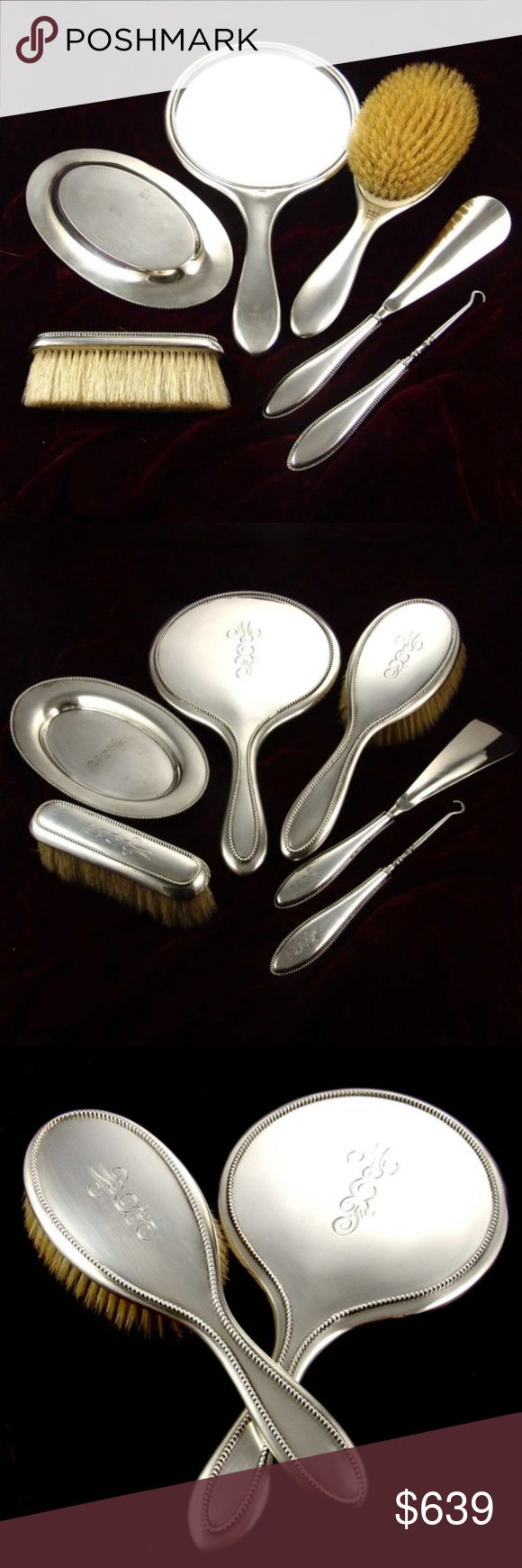 """1890's Victorian R. Wallace & Sons 925 Vanity set ANTIQUE VICTORIAN 1890's  R. WALLACE & Sons 6 pc VANITY BRUSH SET in solid STERLING (92.5)  (128 years old) In beautiful antique condition, used, w/slight  minor scuffs, set has old fancy MONOGRAM (mef) on back , adds to the beauty of the antique set.  Mirror - Size: Mirror - 6"""" x 11"""" Hair Brush - 3"""" x 9 1/2"""" Clothes Brush - 1 1/2"""" x 5"""" Manicure Tray - 4"""" x 7"""" Shoe Horn - 1 1/2"""" x 9"""" Button Hook - 1"""" x 7"""". Total weight 794.5 grams . I DO NOT…"""