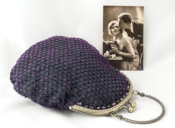 Green purple evening clutch wedding purse inspired by LoveThirties
