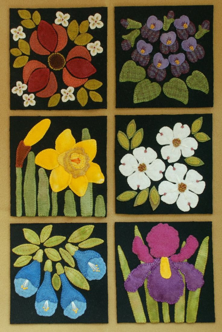 Welcome to my latest design, Four Seasons of Flowers. Consisting of a total of 24 blocks, each 6 x 6, you will find six blocks for each of the four seasons, spring, summer, autumn, and winter.  ~~~ In this listing you are able to choose to purchase in one of three ways ~~~ :  1. The PATTERNS ONLY for ALL 24 blocks (to see expanded photographs of each block, please look at the 24 separate listings for each);  2. The KITS for ALL 24 blocks, each of which consists of 100% felted wool fabric for…