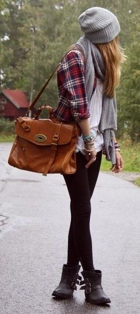 exactly!! hat, plaid shirt, scarf, black boots: