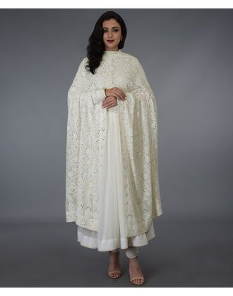 ef5f48dc91 Ivory Hand Embroidered Chikankari and Kamdani Dupatta | Indian ...
