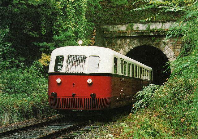 "The 1934 MÁV Aamot ""Árpád"" rail autobus coming out of the Nógrádszakál tunnel - Hungary | Flickr - Photo Sharing!"