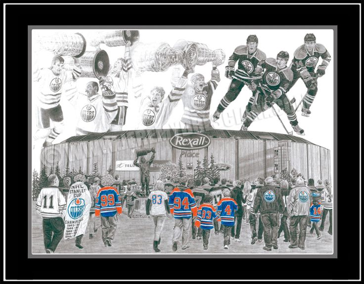 """""""The Sky's the OIL COUNTRY"""" This drawing was inspired by youth and excitement of The 2011 Edmonton Oilers, the rich history of the team and the strength of their fan base. With the young Oilers' strong start to the 2011 season, one cannot help but reminisce about the dynasty of the 1980s led by a youthful Gretzky, Messier, Kurri, Coffey and Fuhr. Captured in the left and center sky are these five Oiler greats hoisting the Oilers' 5 Stanley Cups. In the right sky, Hall, Eberle and…"""