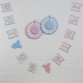 Eye-catching 'Boy or Girl?' bunting. The blue and pink colours of this bunting make it a perfect addition to any baby shower or gender reveal party!