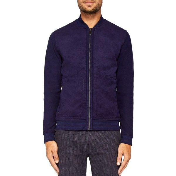 Ted Baker Curlay Textured Bomber ($259) ❤ liked on Polyvore featuring men's fashion, men's clothing, men's outerwear, men's jackets, navy, mens bomber jacket, mens navy blue jacket, ted baker mens jacket, mens navy jacket and mens navy bomber jacket