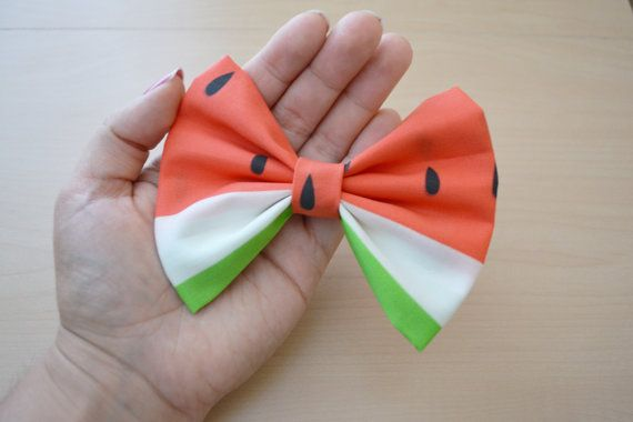 Summer Fun Watermelon Hair Bow, abric Hair Bow Clips, Hair Bows for Teens, Women…