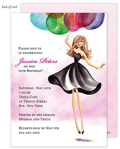 Floating Girl Adult Birthday Party Invitations