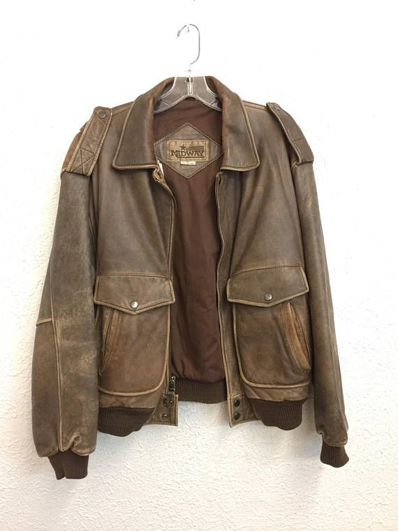 7db7eab6810 Vintage 80 s Brown Distressed Leather Bomber Jacket size Large  XL listing  2061