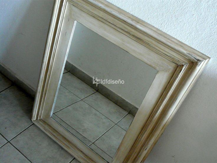 hermoso espejo marco patinado en blanco