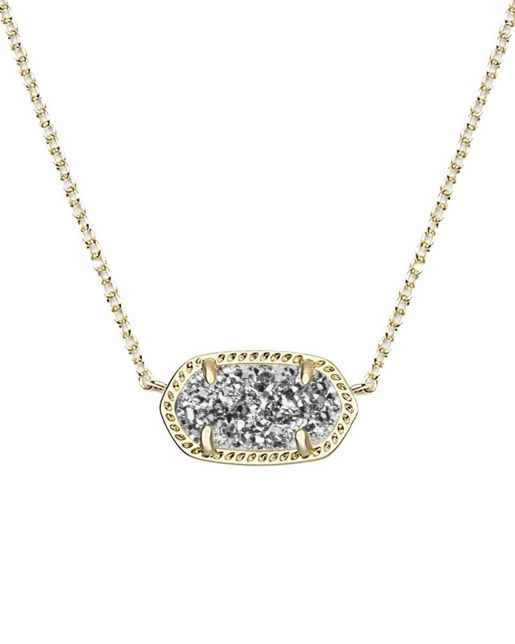 Elisa Pendant Necklace in Platinum Drusy - A small platinum drusy stone creates the perfect pendant on a delicate gold chain.